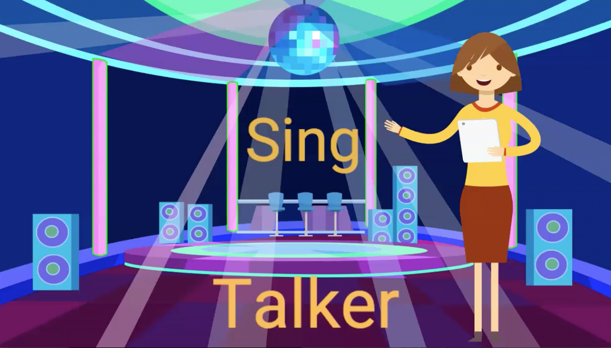 """Woman Pointing to Words """"Sing Talker"""" on a virtual dance floor."""