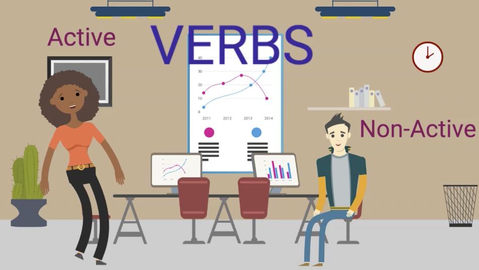 Active Verbs and Non-Active Verbs Cartoon