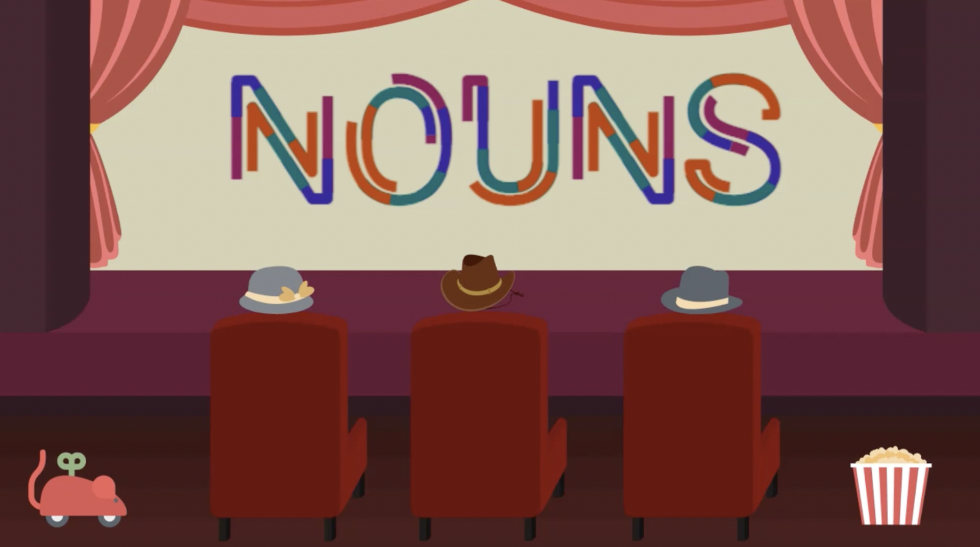 Nouns Cartoon People Watching a Movie Screen