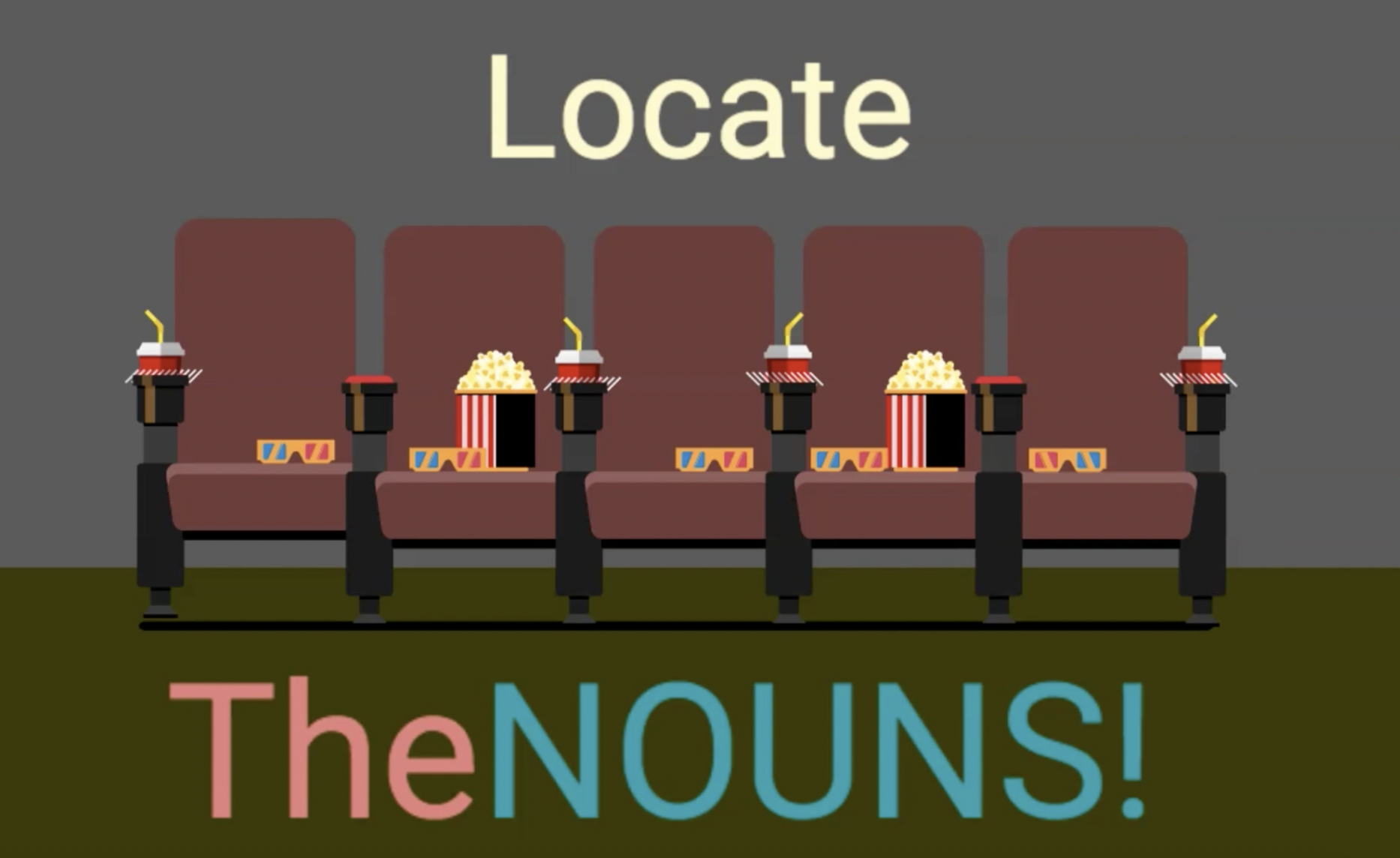 Locate the Nouns - Cartoon in an empty movie theater